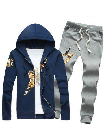 Cheap Lightning Insert Plus Size Zip Up Hoodie and Pants Twinset