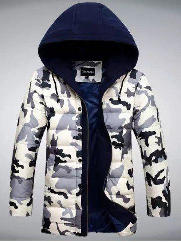 Affordable Zip Up Camouflage Hooded Quilted Coat