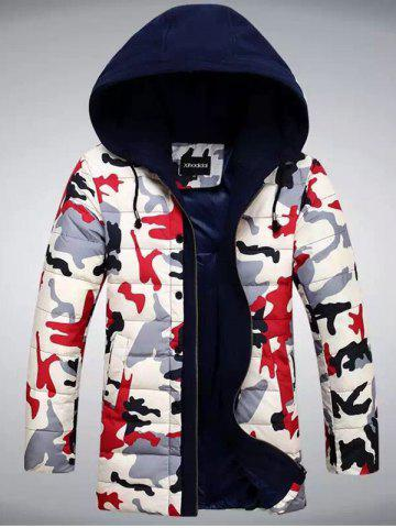 Unique Zip Up Camouflage Hooded Quilted Coat