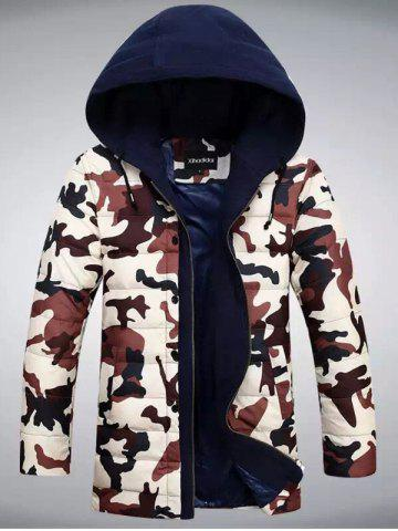 New Zip Up Camouflage Hooded Quilted Coat
