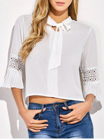 Best Cropped Flare Sleeve Bowknot Blouse WHITE ONE SIZE