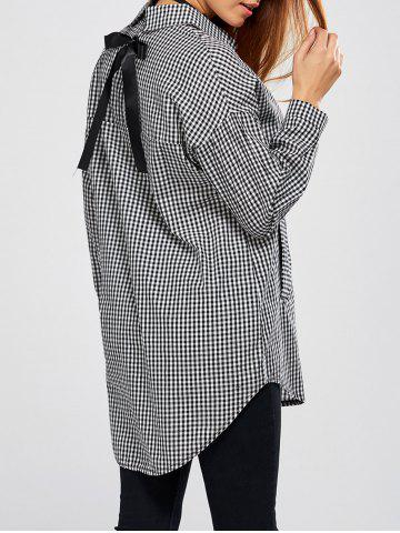 Affordable Plaid High Low Shirt with Bowknot