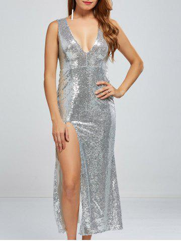 Cheap Sequined Low Cut High Slit Dress
