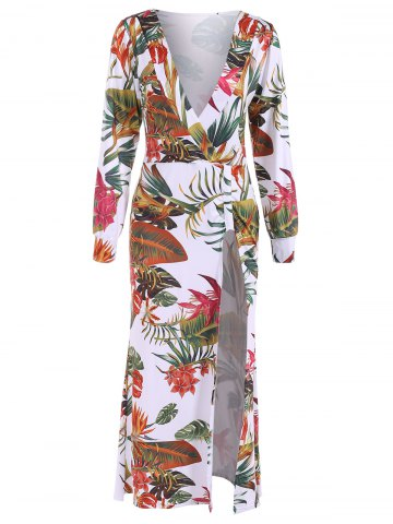 New Plunge Long Sleeve Hawaiian Printed Slit Maxi Dress - L WHITE Mobile