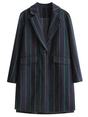 Affordable Furcal Stripe One Button Lapel Coat