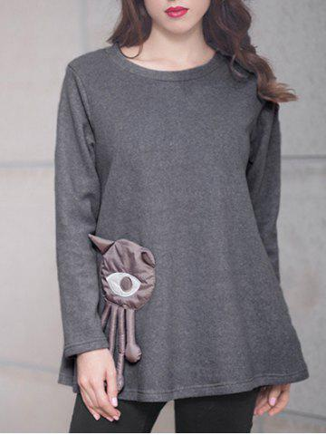 Chic Big Eye Patched T-Shirt