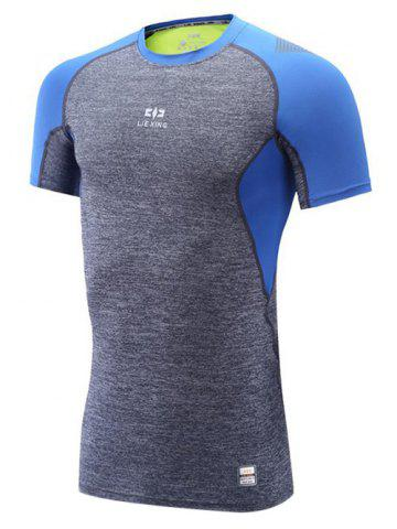 Latest Color Block Spliced Quick Dry Raglan Sleeve Fitness T-Shirt GRAY/BLUE 2XL