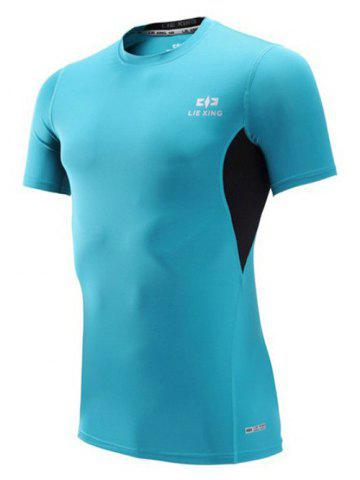 New Color Block Spliced Quick Dry Short Sleeve Fitness T-Shirt SKY BLUE 2XL