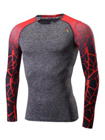 Online Ombre Geometric Print Quick Dry Raglan Sleeve Fitness T-Shirt