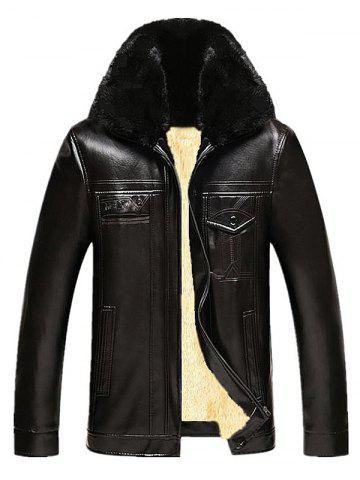 Fashion Faux Fur Collar Pockets Design Zip Up PU Leather Flocking Jacket DEEP BROWN 4XL