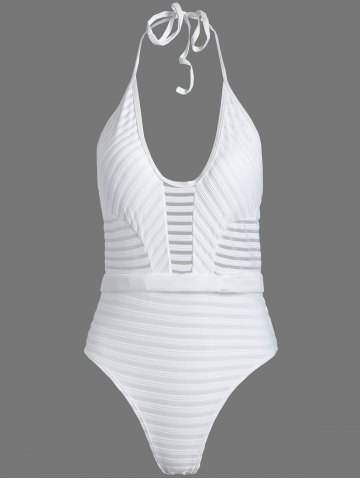 Discount Halter See-Through One Piece Tight Swimsuit
