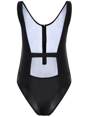 Buy Backless Zipper One Piece Tight Swimsuit BLACK XL