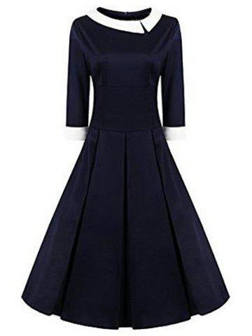 Best High Waisted Fit and Flare Vintage Dress PURPLISH BLUE 2XL