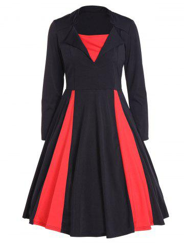 Latest Vintage Color Block Long Sleeve Pin Up Dress