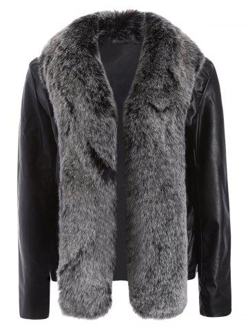 Open Front Faux Leather Jacket with Fur Collar - Black - M