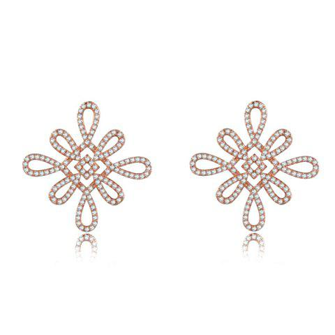 Latest Rhinestone Chinese Knot Earrings ROSE GOLD