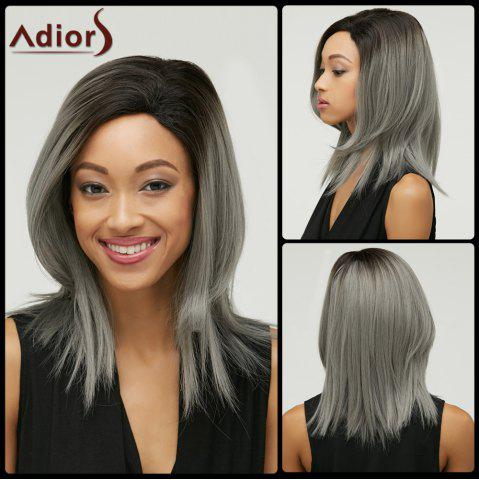 Online Double Color Short Side Parting Straight Synthetic Capless Bob Wig COLORMIX