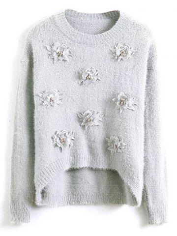 Floral Applique Sweater - GRAY ONE SIZE