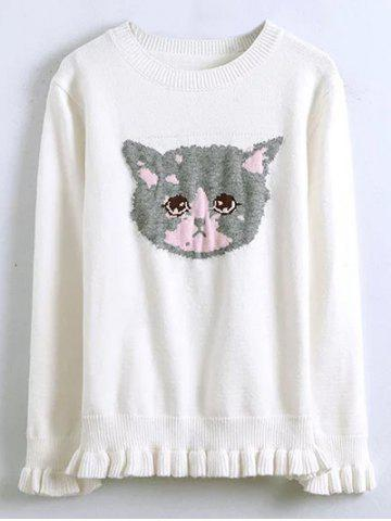Store Kitten Jacquard Sweater With Frill