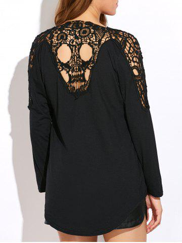Sale Skull Lace Insert Backless Asymmetric Cardigan BLACK XL