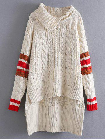 Trendy High Low Cable Knit Funnel Sweater