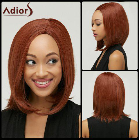 Trendy Faddish Medium Straight Side Parting Capless Auburn Brown Synthetic Wig For Women AUBURN BROWN
