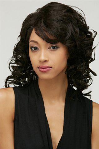 Shops Fluffy Black Curly Capless Stunning Medium Side Bang Synthetic Wig For Women BLACK
