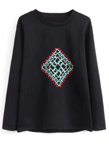 Sale Crew Neck Geometric Embroidered Sweatshirt BLACK L