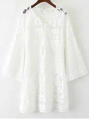 Latest V Neck Bell Sleeve Lace Hollow Out Dress