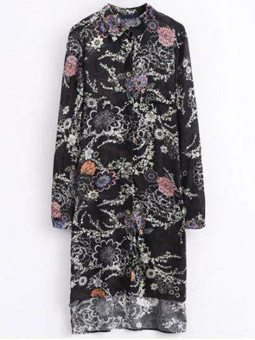 Fashion Shirt Neck High Low Retro Floral Shirt Dress