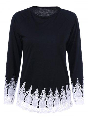 Trendy Jewel Neck T-Shirt with Lace Trim