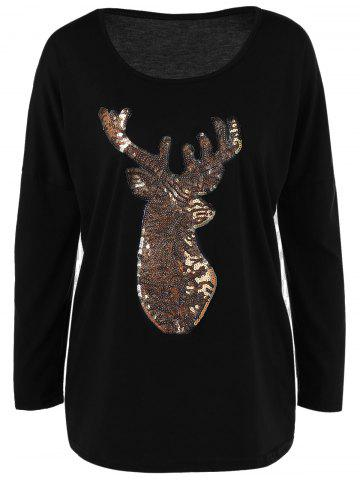 Buy Sequin Long Sleeve Fawn T Shirt BLACK XL