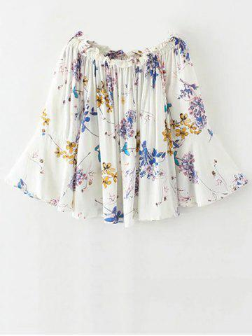 Outfits Flare Sleeve Off Shoulder Floral Pattern Blouse WHITE S