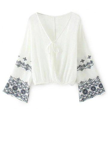 Sale V Neck Embroidered Surplice Blouse