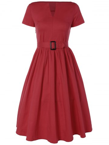 New Plus Size Midi Pin Up Skater Dress RED 4XL