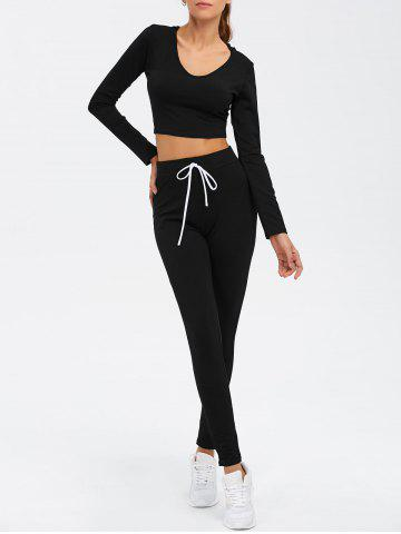Fancy Long Sleeve Crop Top and Drawstring Pants Twinset - L BLACK Mobile
