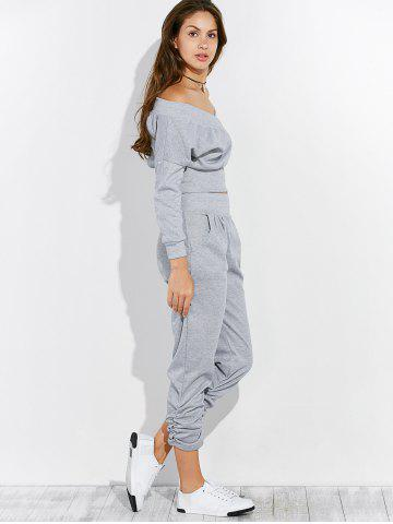 Online Open Back Off The Shoulder Tee and Pants Jogging Suit - XL GRAY Mobile