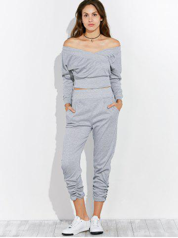 Sale Open Back Off The Shoulder Tee and Pants Jogging Suit - XL GRAY Mobile