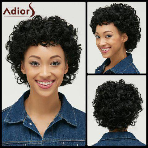 Outfit Pixie Short Cut Curly Side Bang Synthetic Wig BLACK