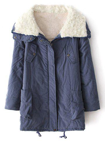 Outfits Lamb Wool String Zip-Up Coat BLUE XL