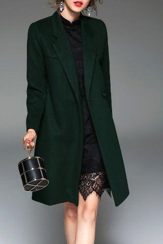 Latest Lapel One Buttoned Coat BLACKISH GREEN M
