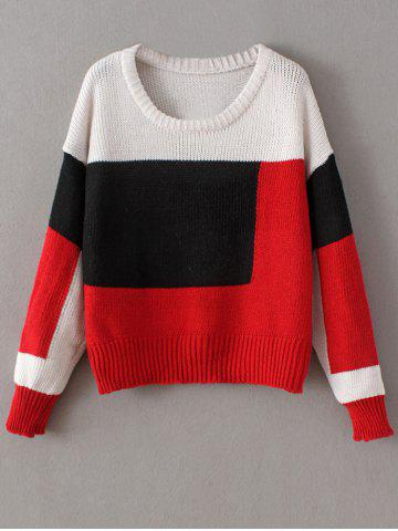 Best Chunky Color Block Sweater RED ONE SIZE