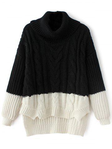 Outfit High-Low Color Block Cowl Neck Sweater BLACK ONE SIZE