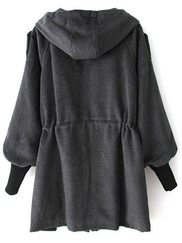 Unique Hooded Drawstring Wool Coat - M DEEP GRAY Mobile