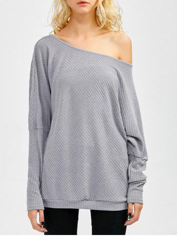 Bare Shoulder Batwing Sweater - Gray - Xl