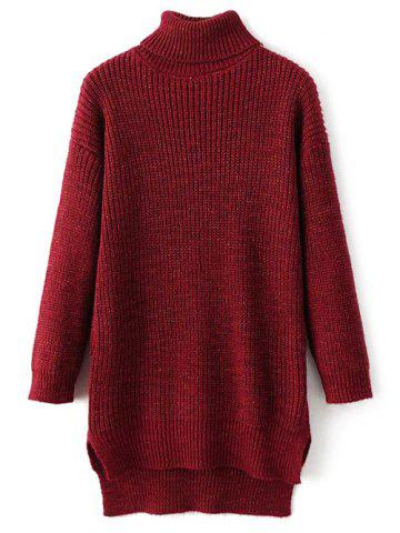 Turtle Neck High Low Heathered Sweater - RED ONE SIZE