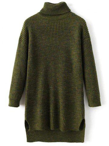 Buy Turtle Neck High Low Heathered Sweater GREEN ONE SIZE