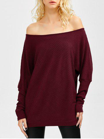 New Bare Shoulder Batwing Sweater WINE RED XL