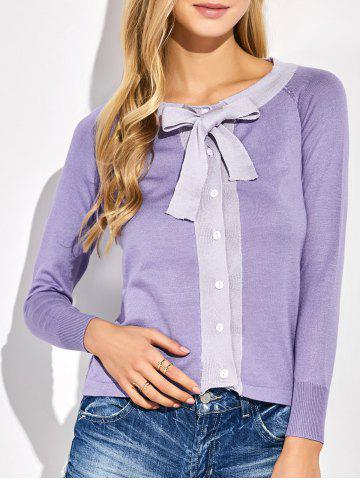 Cheap Button Up Bowknot Cardigan PURPLE ONE SIZE