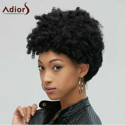 Affordable Fascinating Short Afro Curly Synthetic Capless Wig BLACK
